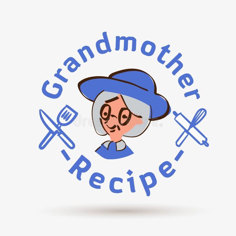 Mall för farmorreceptlogo logo för restaurang eller hemlagat laga mat - vektor royaltyfri illustrationer
