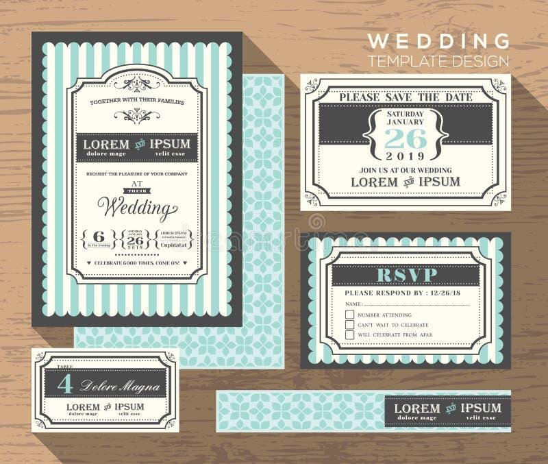Mall för fastställd design för bröllopinbjudan vektor illustrationer