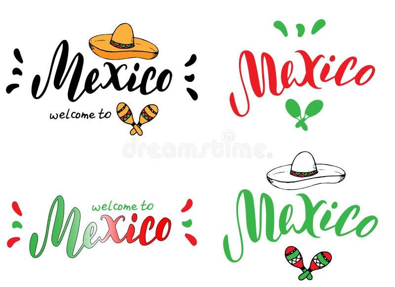 Mall för fastställd design för Mexico typografi Turismwebsite- eller broschyrbaner Tryck för t-skjortan, klistermärke, magnet, vy vektor illustrationer
