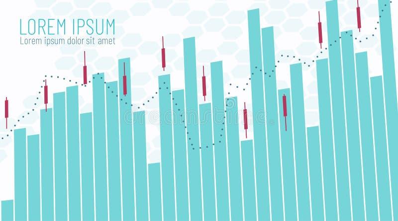Mall för finansiell infographics för affär Handla schema med stigande och fallande försäljningsköppriser Stearinljuslinje pinnegr stock illustrationer