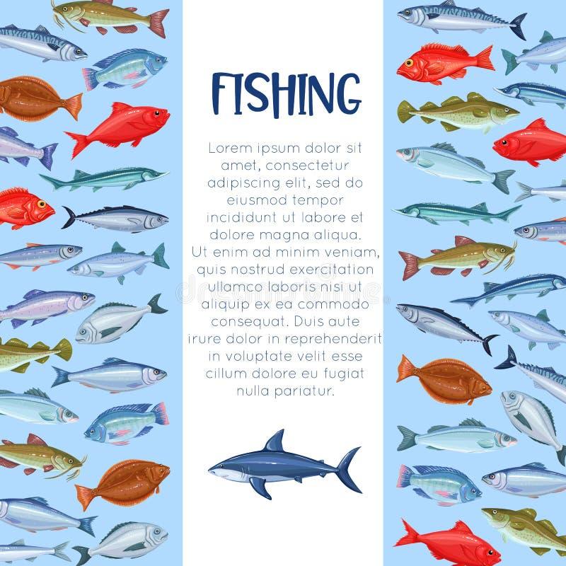 Mall för fiska för hav stock illustrationer