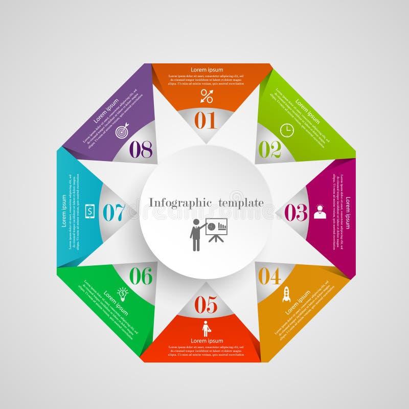 Mall för flödesdiagram för Infographic cirkeltriangel vektor illustrationer