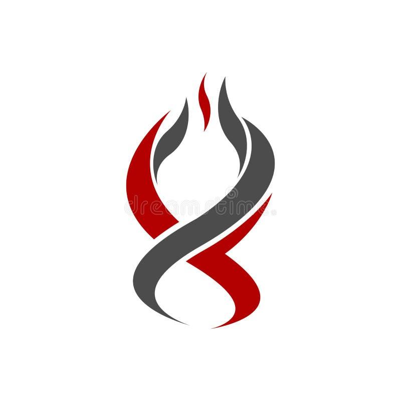 Mall för flammalogovektor diagram för brandlogodesign beståndsdel för facklalogodesign varm brandsymbol Gaslogoillustration antän royaltyfri illustrationer