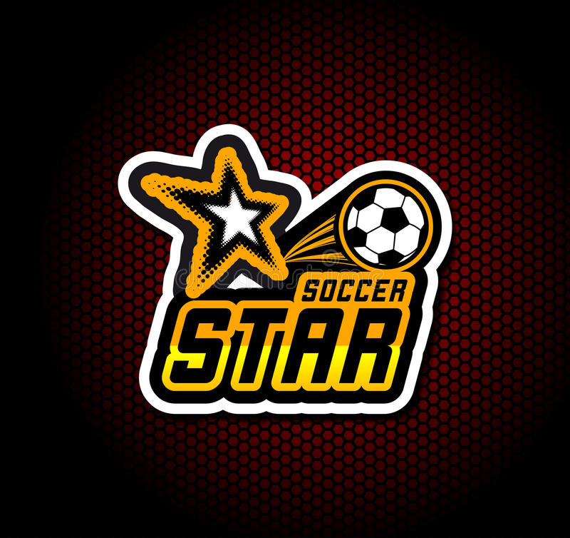 Mall för fotbollemblemlogo, fotbolldesign royaltyfri illustrationer
