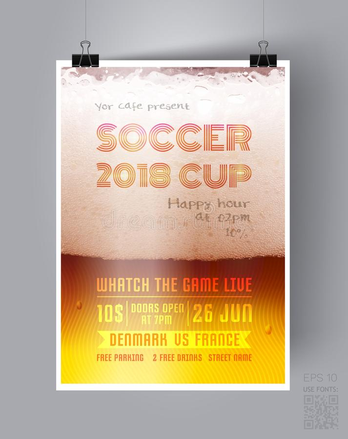 Mall 2018 för fotbollkoppreklamblad på bakgrunden av ett ölexponeringsglas Advertizingaffisch av en match för världsfotbollmäster stock illustrationer