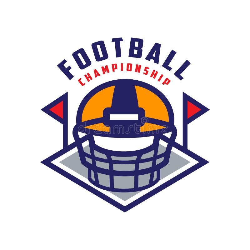 Mall för fotbollmästerskaplogo, emblem för amerikansk fotboll, illustration för vektor för gradbeteckning för sportlag på en vit royaltyfri illustrationer