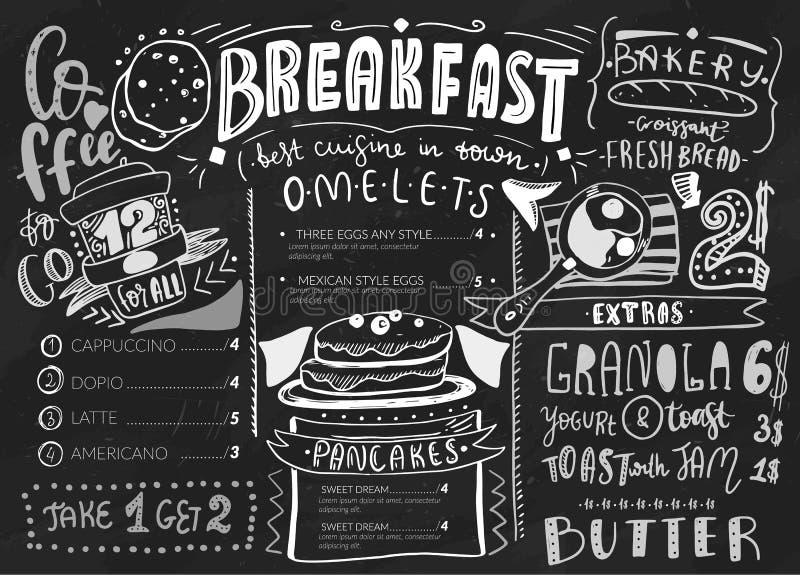 Mall för frukostmenydesign Modern bokstäver med skissar symboler av mat på svart tavlabakgrund Restaurang kafé stock illustrationer