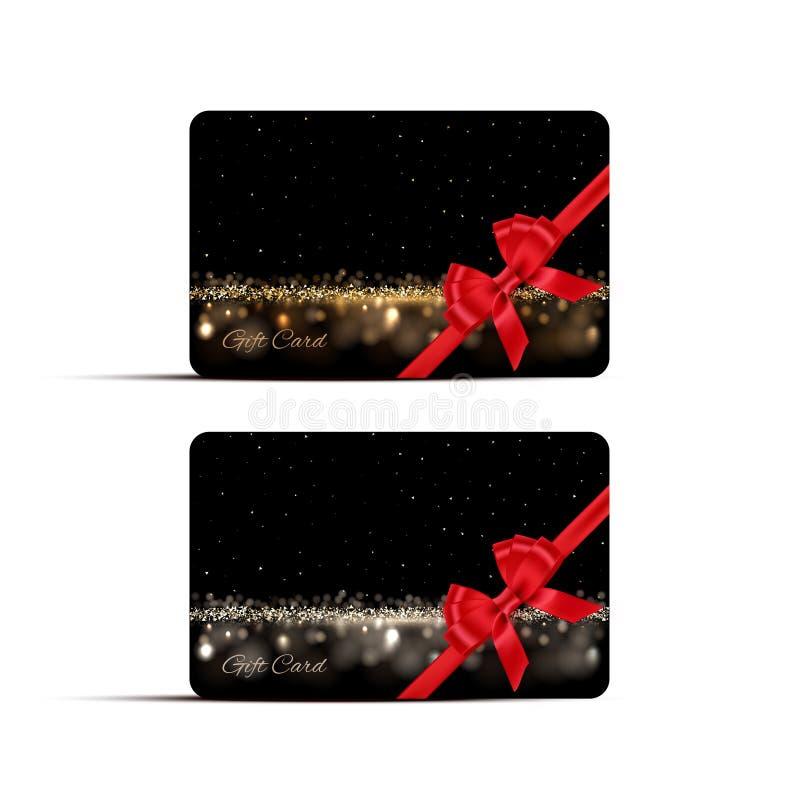 Mall för gåva- eller rabattkortdesign Pilbåge och band för vektor röd på mörka guld- och silverbakgrunder stock illustrationer