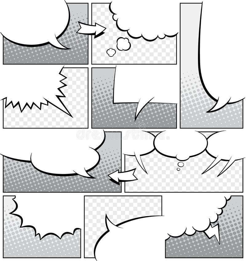 Mall för gråskalahumorboksida stock illustrationer