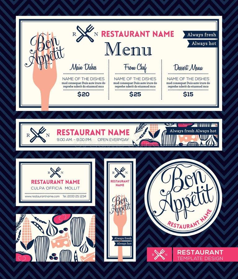 Mall för grafisk design för meny för uppsättning för Bonappetitrestaurang stock illustrationer