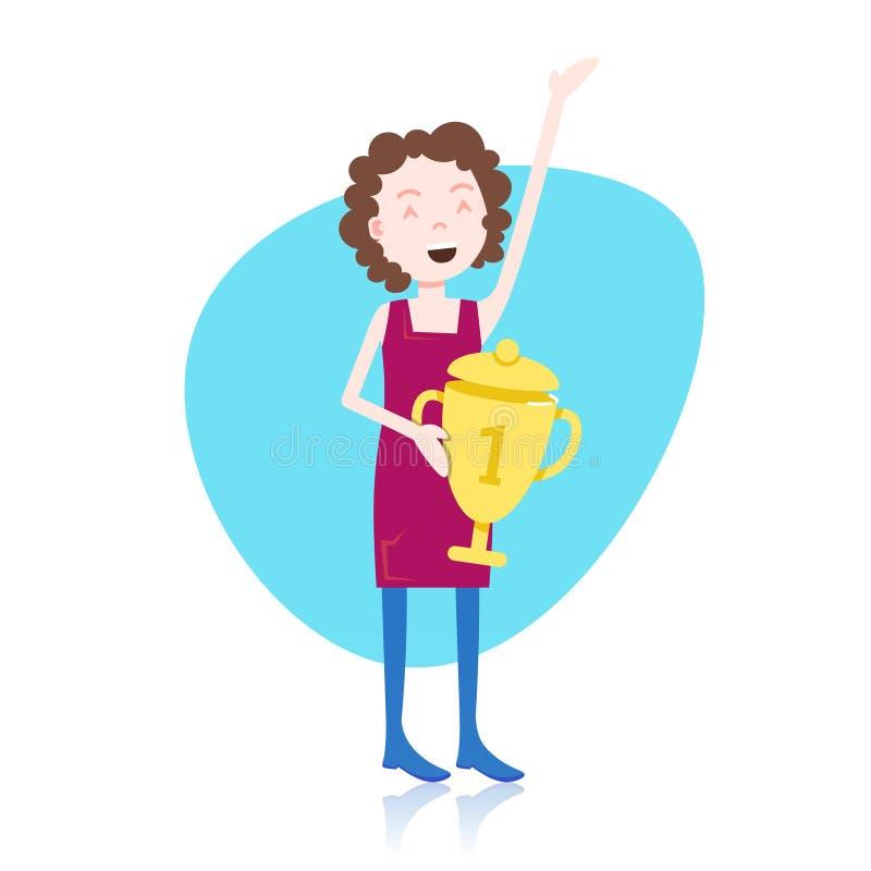 Mall för guld- kopp för pris för seger för kvinnateckeninnehav för designarbete eller animering över full längd för vit bakgrund vektor illustrationer