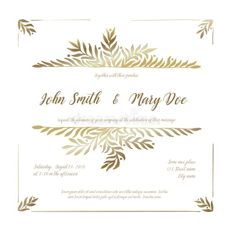 Mall för guldbröllopinbjudankort royaltyfri illustrationer