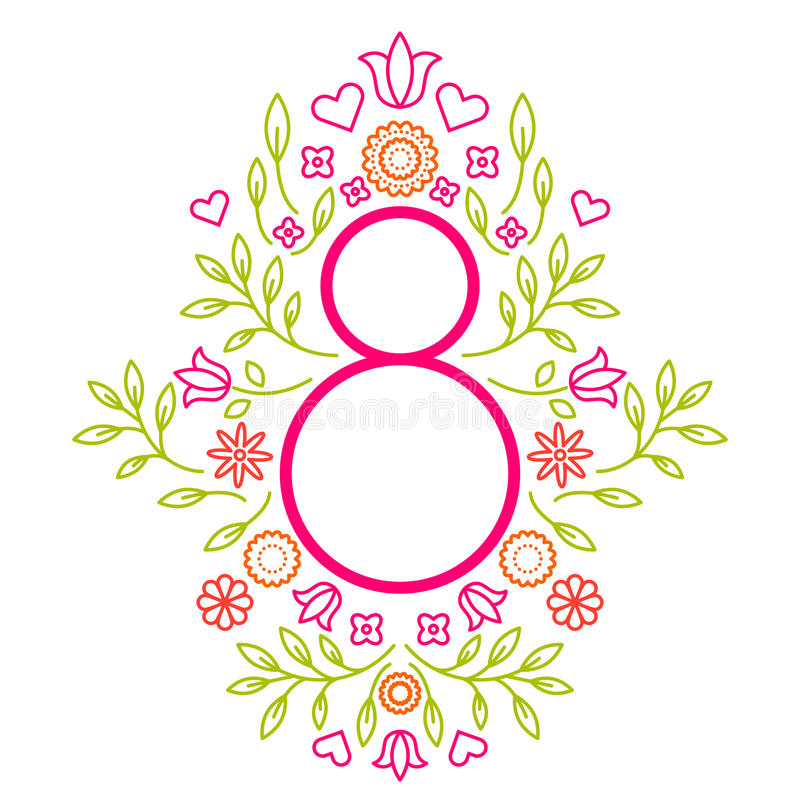 Mall för hälsningkort för kvinnors för mars 8 dag vektor illustrationer