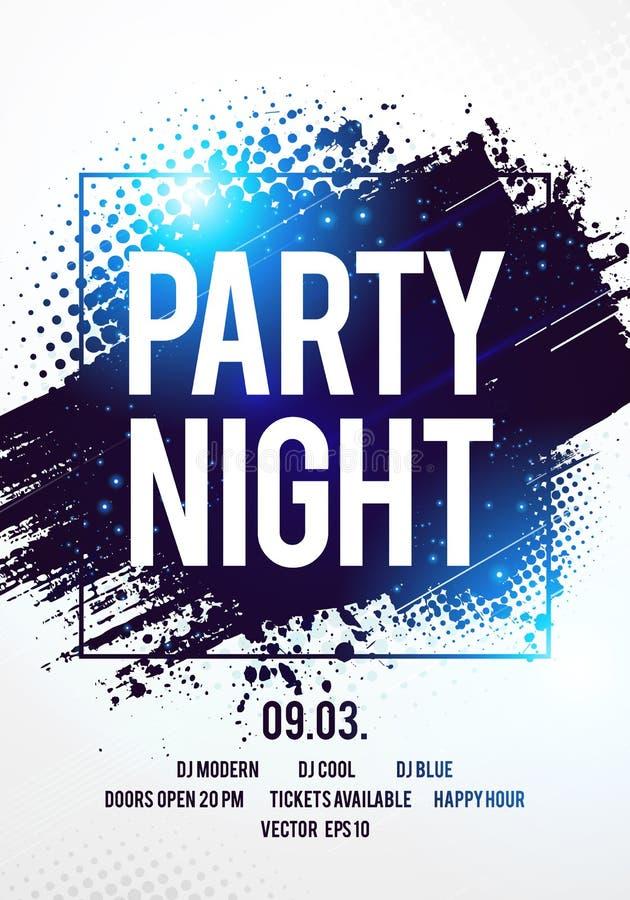 Mall för händelse för dans för reklamblad för natt för parti för disko för vektorillustrationklubba med färgrik bakgrund vektor illustrationer