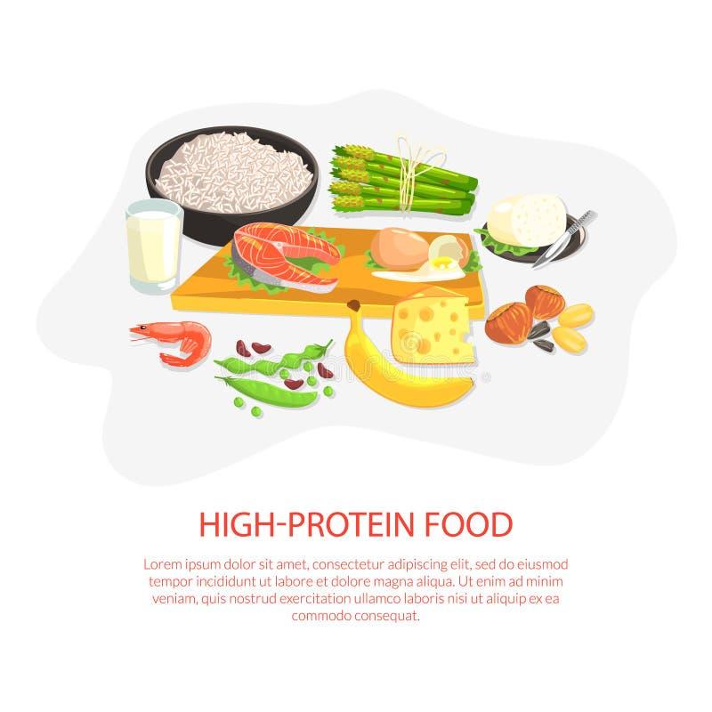 Mall för högproteinbanderoll, näring och grossistprodukter för att koka och äta vektorbelysning vektor illustrationer