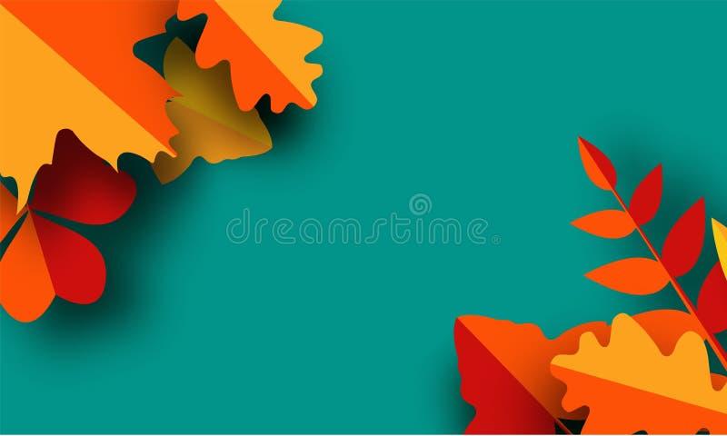 Mall för hösthälsningkort Nedgångillustrationen med papper klippte röda och gula sidor för apelsinen, royaltyfri illustrationer