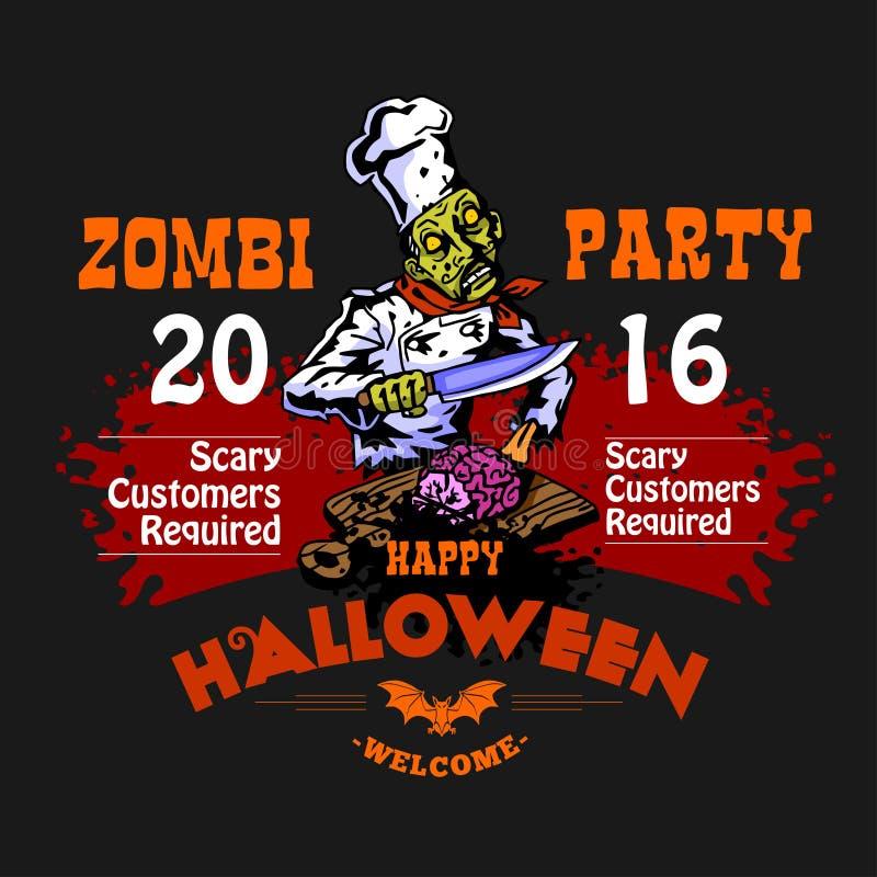 Mall för Halloween deltagaredesign med zombien och ställe för text stock illustrationer