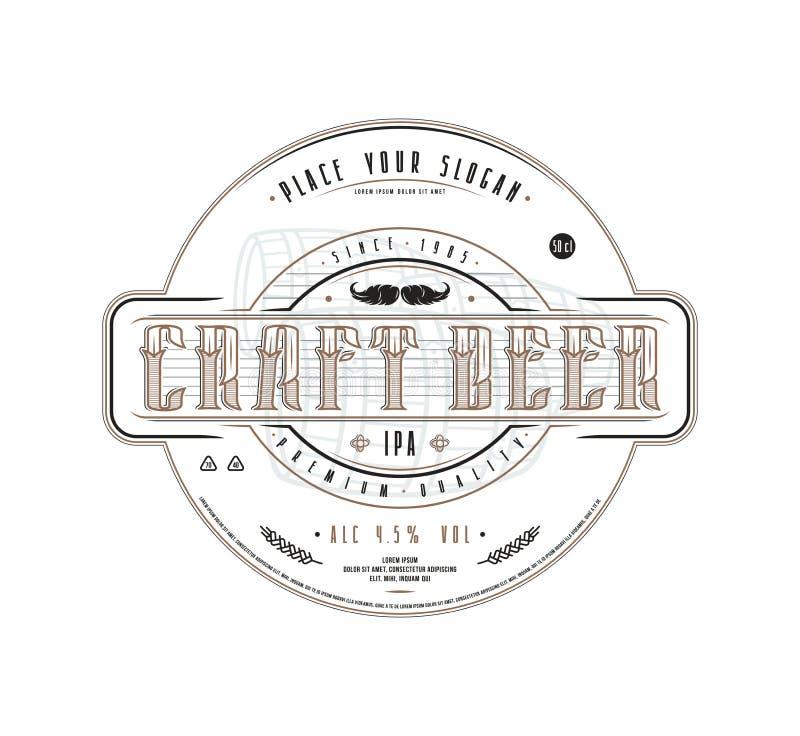 Mall för hantverköletikett i tappningstil stock illustrationer