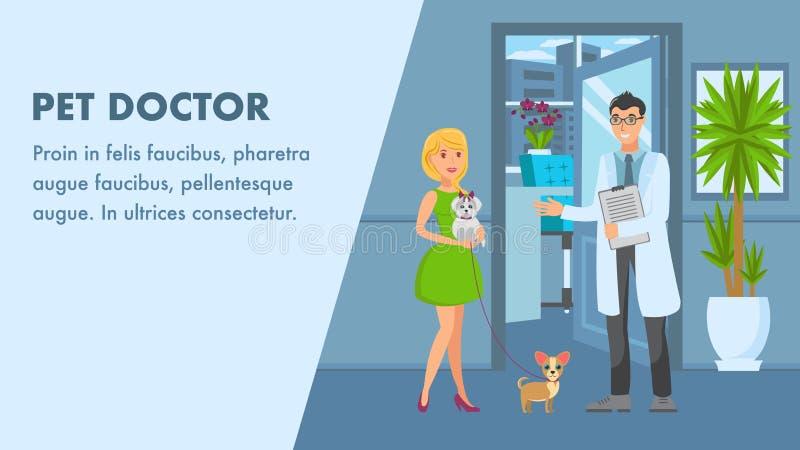 Mall för husdjurdoktor Appointment Banner Vector vektor illustrationer