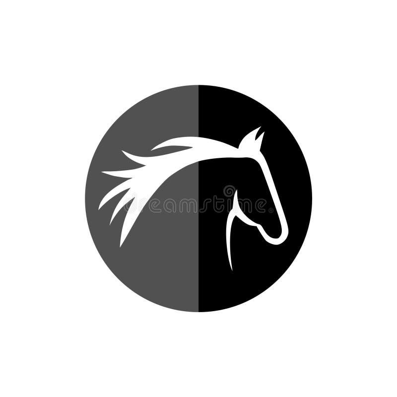 Mall för huvudhästlogo, knapp för svart för hästhuvud vektor illustrationer