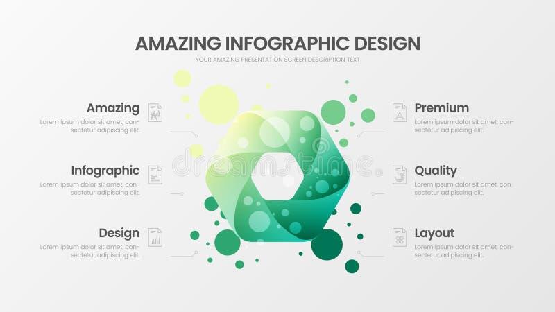 mall för illustration för vektor för 6 alternativhexahedronanalytics Orientering för affärsdatadesign Infographic organisk statis vektor illustrationer