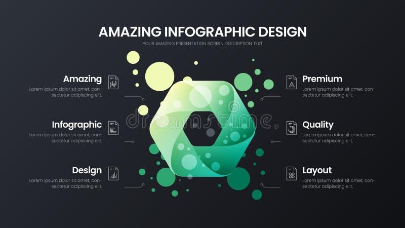 mall för illustration för vektor för 6 alternativhexahedronanalytics Orientering för affärsdatadesign Infographic organisk statis royaltyfri illustrationer