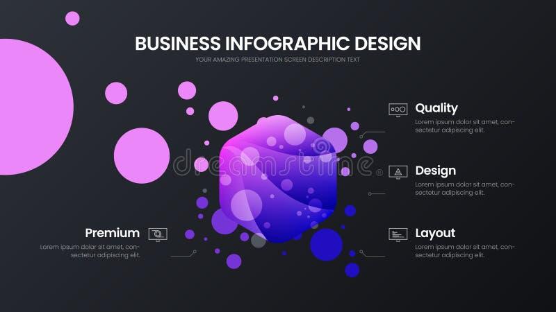 mall för illustration för vektor för 4 alternativhexahedronanalytics Orientering för design för visualization för affärsdata Stat stock illustrationer