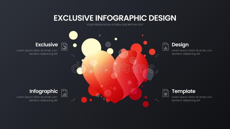 mall för illustration för vektor för 4 analytics för alternativhjärtamarknadsföring Orientering för affärsdatadesign Infographic  vektor illustrationer