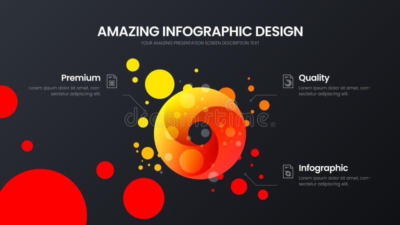 mall för illustration för vektor för presentation för 3 alternativcirkelanalytics Förbluffa den infographic rapporten för färgrik vektor illustrationer
