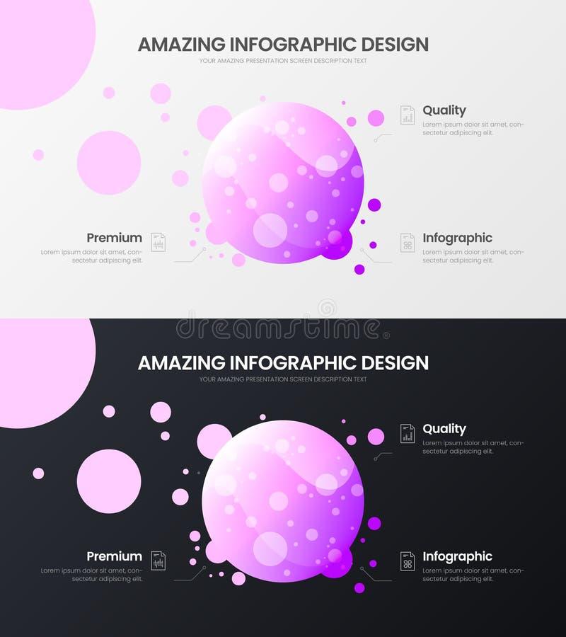 mall för illustration för vektor för presentation för 3 analytics för alternativcirkelmarknadsföring Infographic rapportpacke för royaltyfri illustrationer