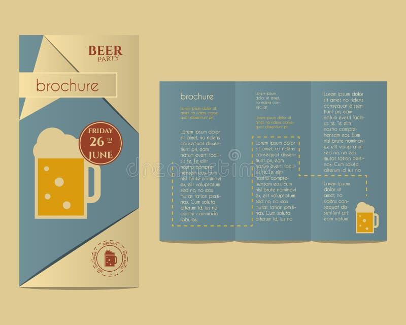 Mall för inbjudan för ölpartireklamblad med exponeringsglas av vektor illustrationer