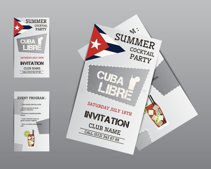 Mall för inbjudan för sommarcocktailpartyreklamblad stock illustrationer