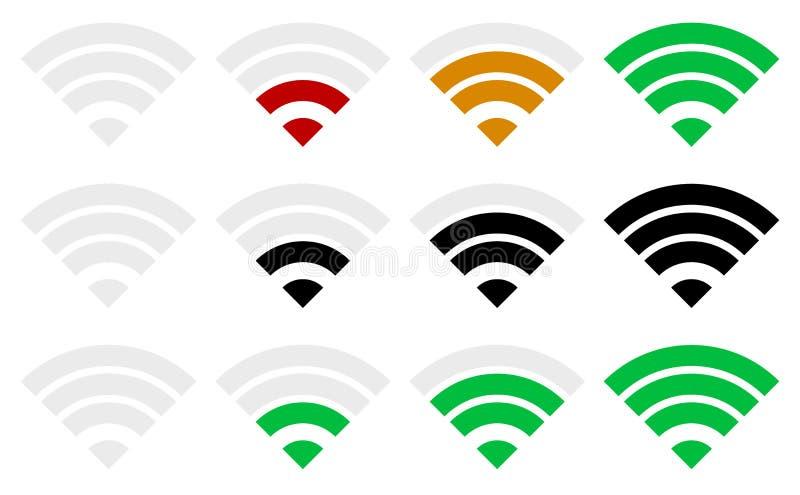 Mall för indikator för signalstyrka Wi-fi trådlös anslutning, stock illustrationer