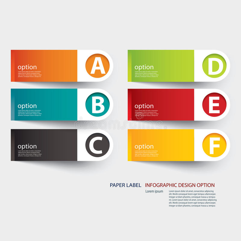 Mall för Infographic etikettflik royaltyfri illustrationer