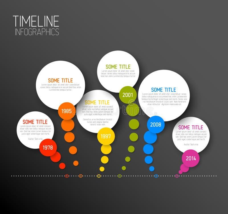 Mall för Infographic horisontalmörk timelinerapport vektor illustrationer