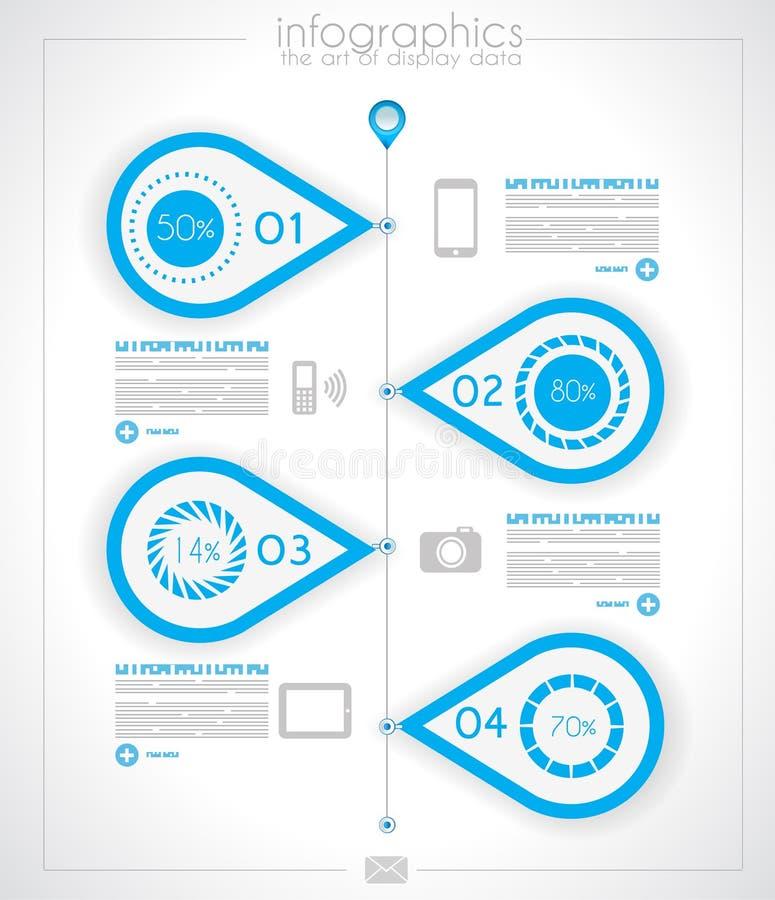 Mall för Infographic timelinedesign med pappers- etiketter royaltyfri illustrationer