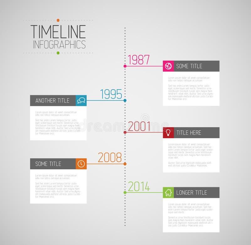 Mall för Infographic timelinerapport royaltyfri illustrationer