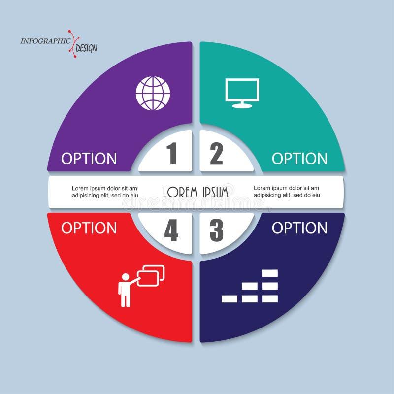 Mall för Infographic vektorcirkel med 4 moment, delar, alternativ vektor illustrationer