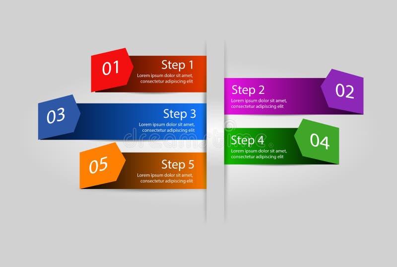 Mall för infographics för abstrakt begrepp för affärsprocess Alternativ design stock illustrationer
