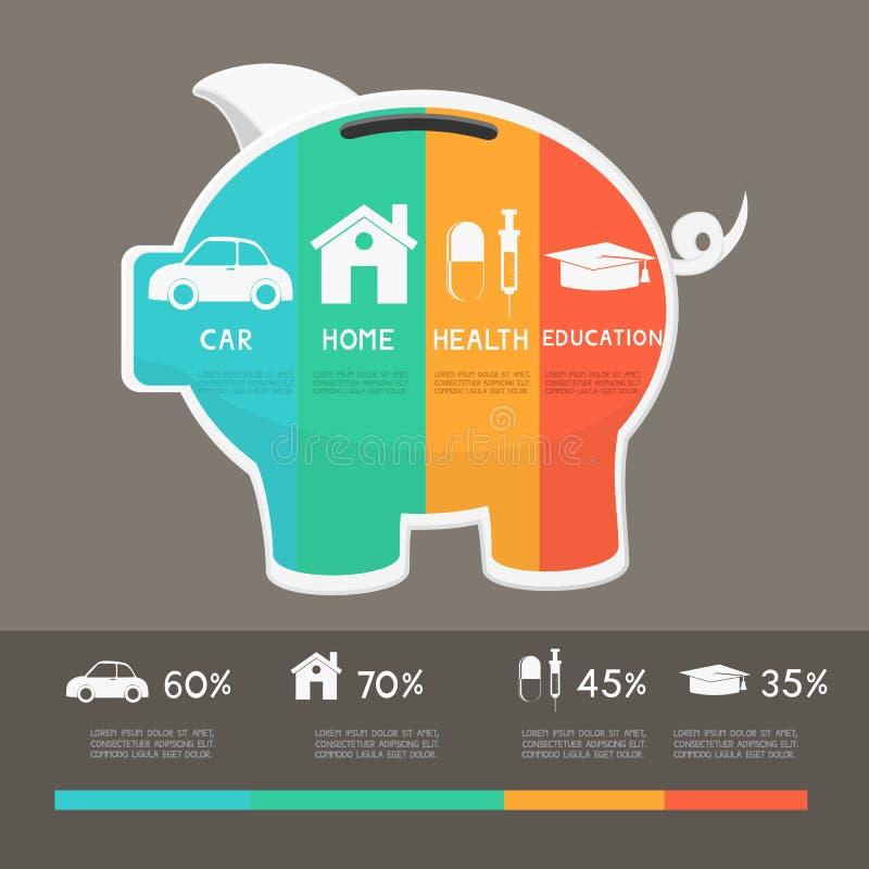 Mall för infographics för pengarbesparingplanläggning royaltyfri illustrationer