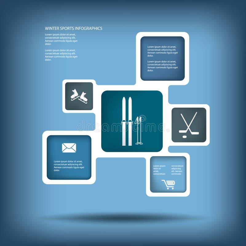 Mall för infographics för vintersportar och aktivitets stock illustrationer