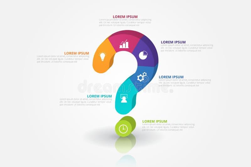 mall för infographics för fläck för fråga 3D för affären, utbildning, rengöringsdukdesign, baner, broschyrer, reklamblad royaltyfri illustrationer