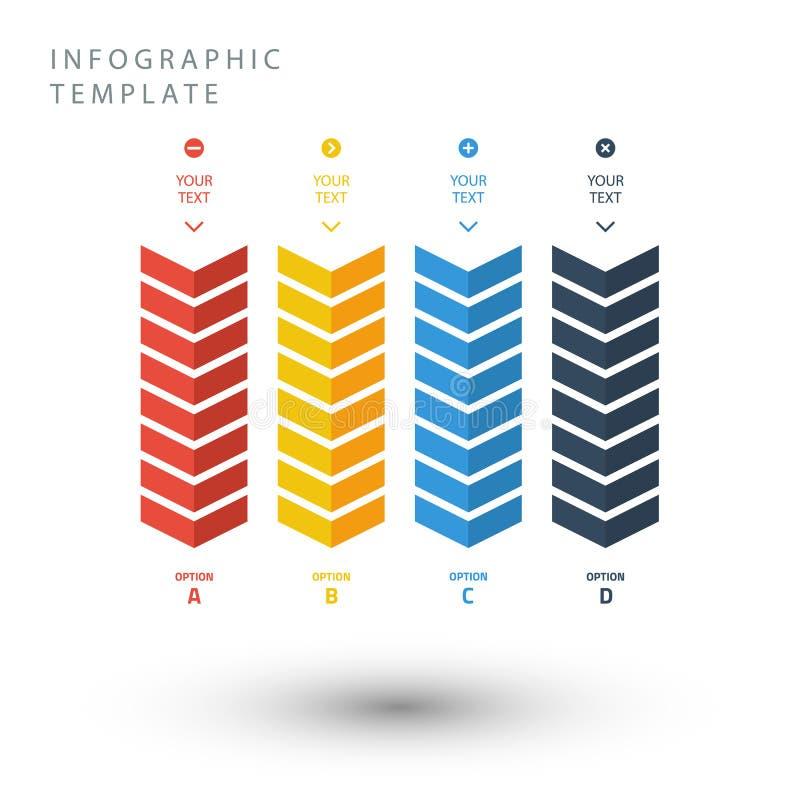 Mall för information om färgsicksack grafisk i plana färger royaltyfri illustrationer