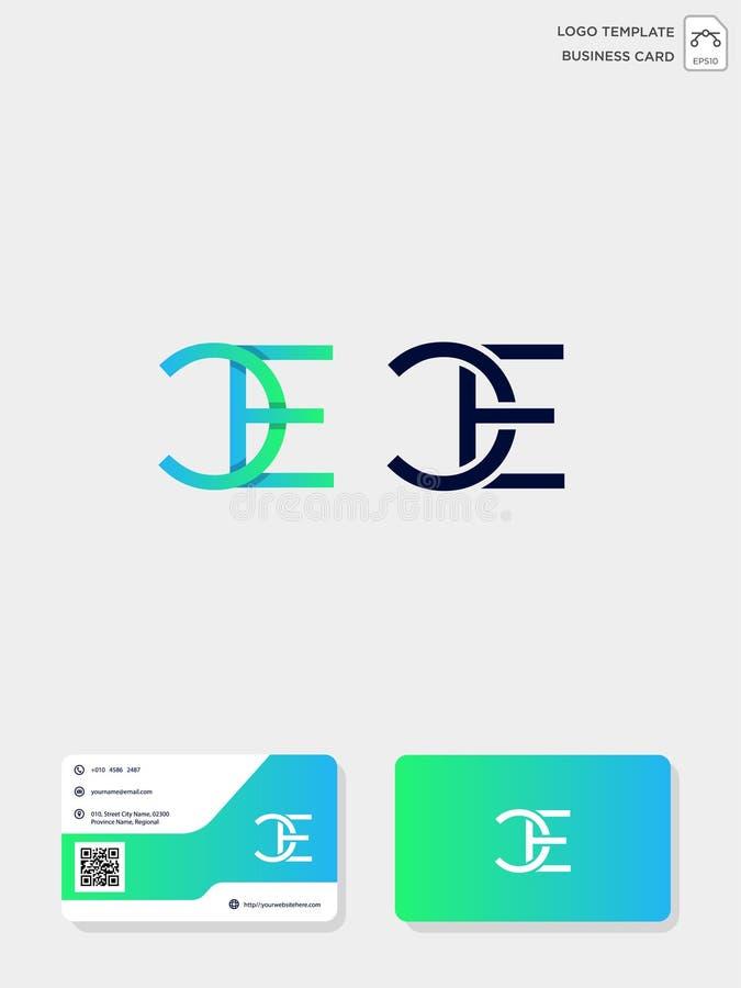 mall för initial logo för CE eller för EC idérik och mall för affärskort vektorillustration och logoinspiration royaltyfri illustrationer