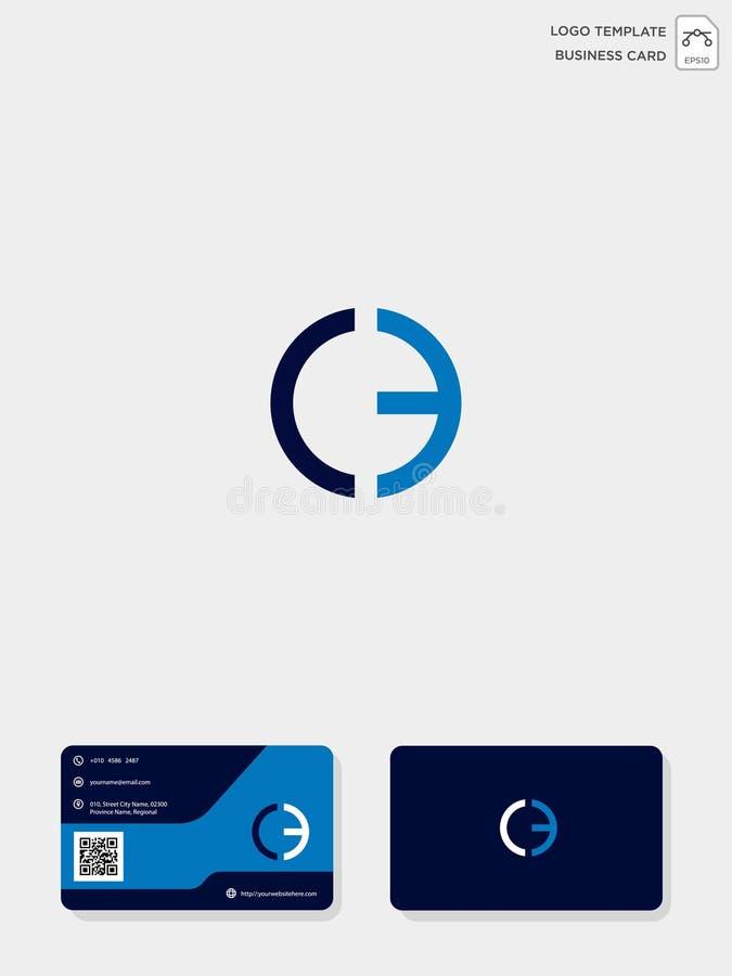 mall för initial logo för CE eller för EC idérik och mall för affärskort vektorillustration och logoinspiration vektor illustrationer