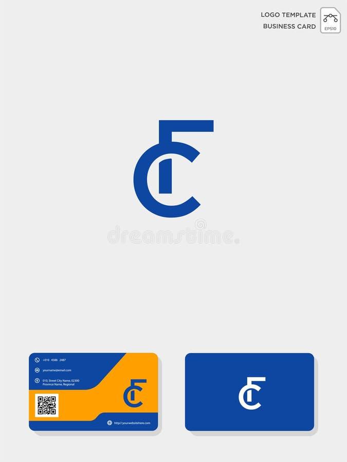 mall för initial logo för CF eller för FC idérik och mall för affärskort vektorillustration och logoinspiration vektor illustrationer