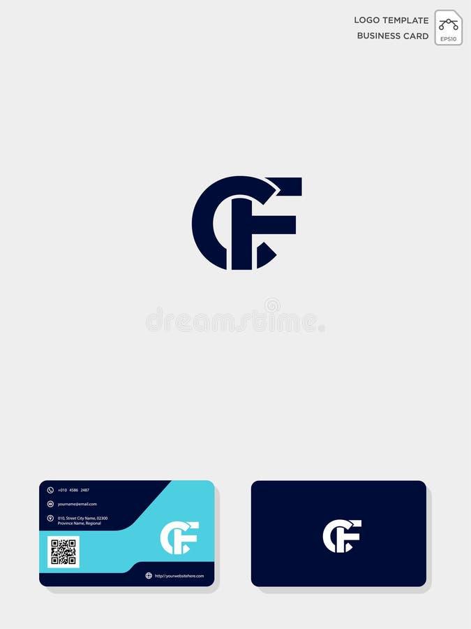 mall för initial logo för CF eller för FC idérik och mall för affärskort vektorillustration och logoinspiration stock illustrationer