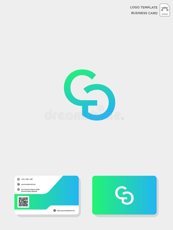 mall för initial logo för CG eller för GC idérik och mall för affärskort vektorillustration och logoinspiration vektor illustrationer