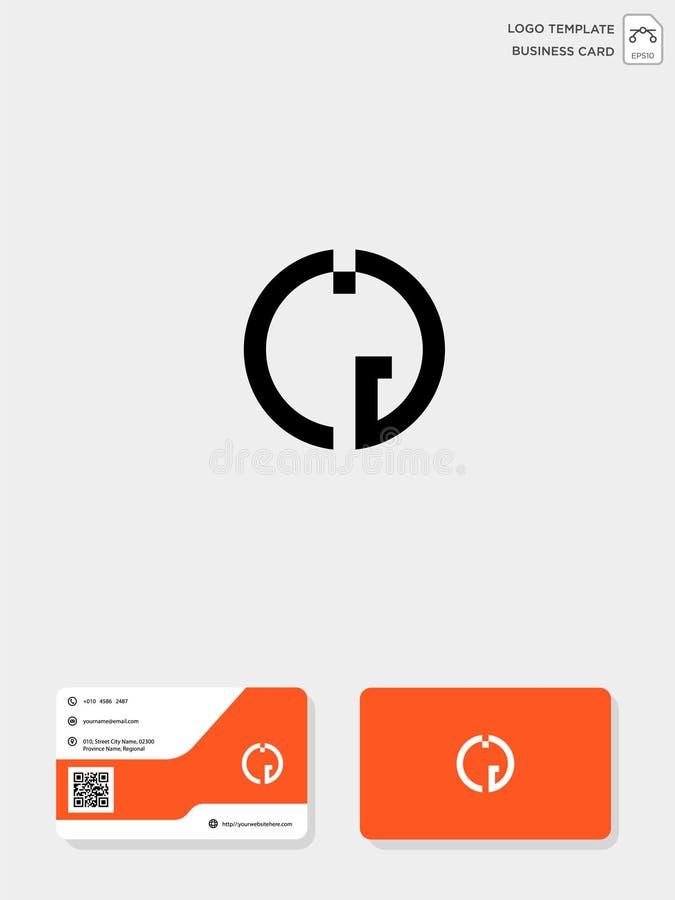 mall för initial logo för CG eller för GC idérik och mall för affärskort vektorillustration och logoinspiration royaltyfri illustrationer