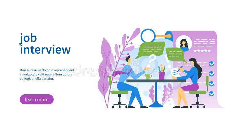 Mall för jobbintervju stock illustrationer